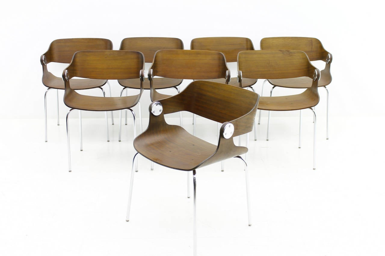 Set Of Eight Plywood Dining Room Chairs By Eugen Schmidt