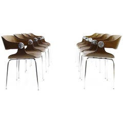 Set of Eight Plywood Dining Room Chairs by Eugen Schmidt, Germany, 1966