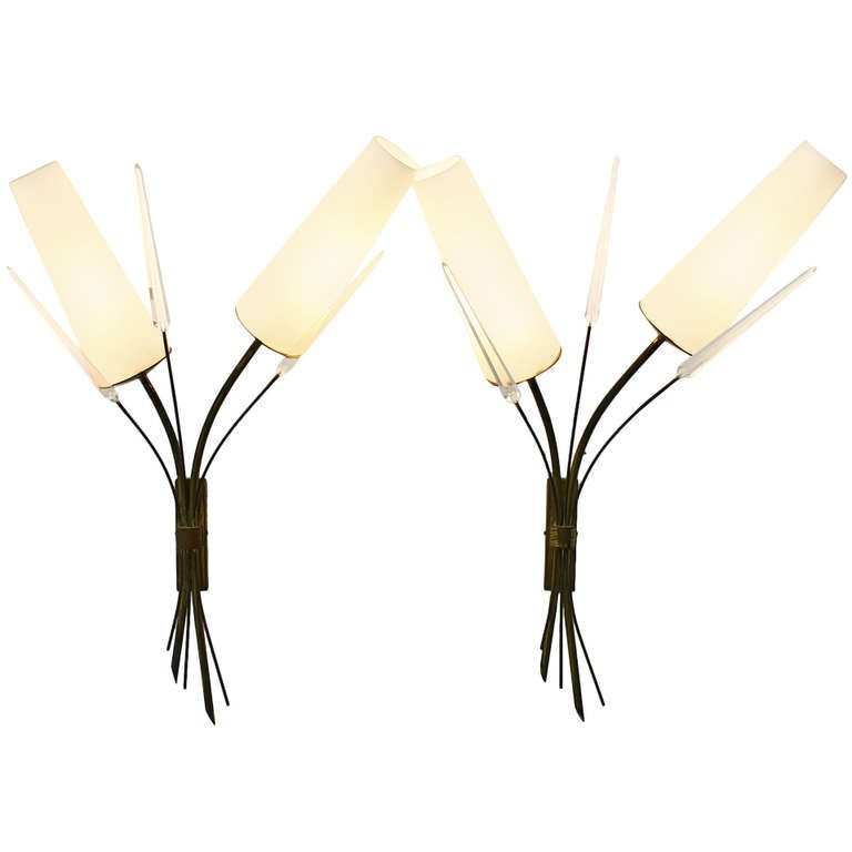 Pair of Brass, Glass and Lucite Wall Sconces in the Style of Maison Arlus, 1950s