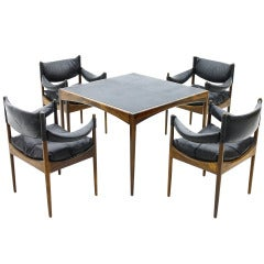 Rosewood & Leather Dining Suite, Kristian Solmer Vedel, Denmark