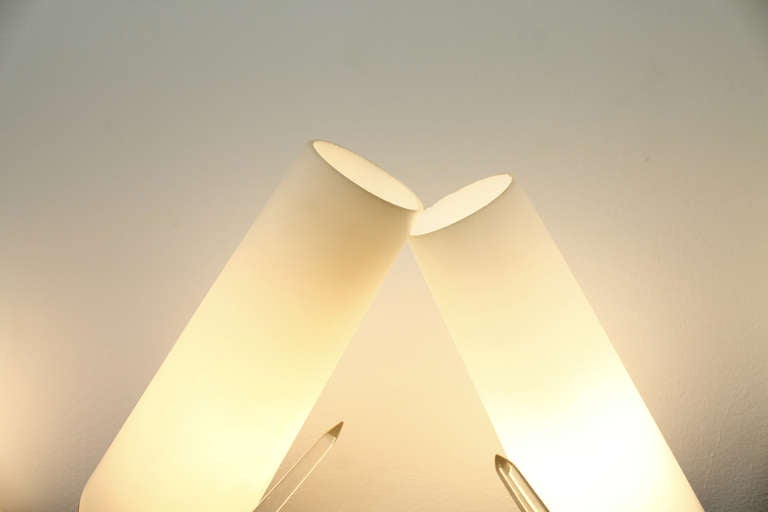 Mid-20th Century Pair of Brass, Glass and Lucite Wall Sconces in the Style of Maison Arlus, 1950s For Sale