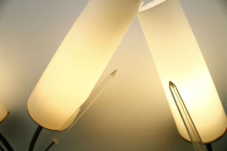 Pair of Brass, Glass and Lucite Wall Sconces in the Style of Maison Arlus, 1950s For Sale 1
