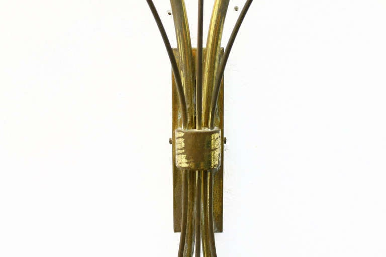 French Pair of Brass, Glass and Lucite Wall Sconces in the Style of Maison Arlus, 1950s For Sale