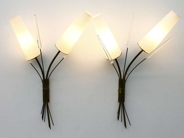 A Pair Wall Sconce, Brass, Glass And Lucite, in style of Maison Arlus 1950s 2