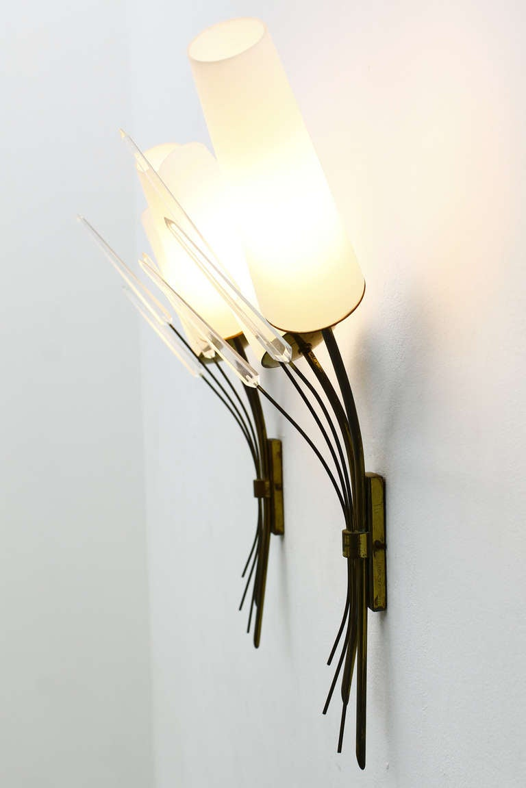 A Pair Wall Sconce, Brass, Glass And Lucite, in style of Maison Arlus 1950s 5