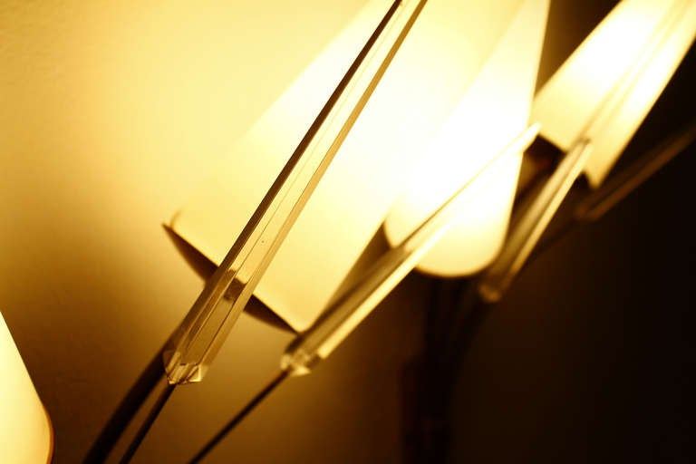 A Pair Wall Sconce, Brass, Glass And Lucite, in style of Maison Arlus 1950s 8