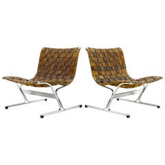 Pair of Leather Lounge Chairs PLR 1 by Ross Littell, Italy, 1968