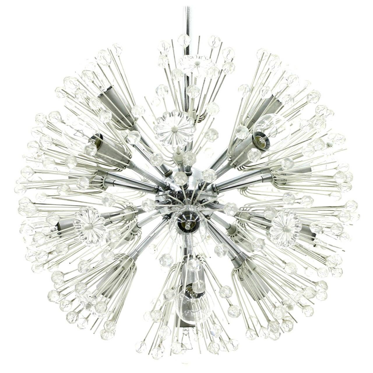 Emil Stejnar Chandelier Snowball, Glass, Seventeen Lights, Austria, 1960