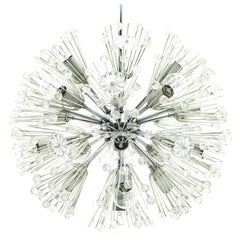 Emil Stejnar Snowflake Glass and Chrome Chandelier 17 Bulbs Austria 1960
