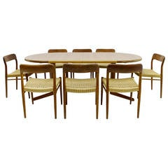 Danish Teak Wood Dining Suite by Niels O. Møller, 1954, Table and 8 Chairs