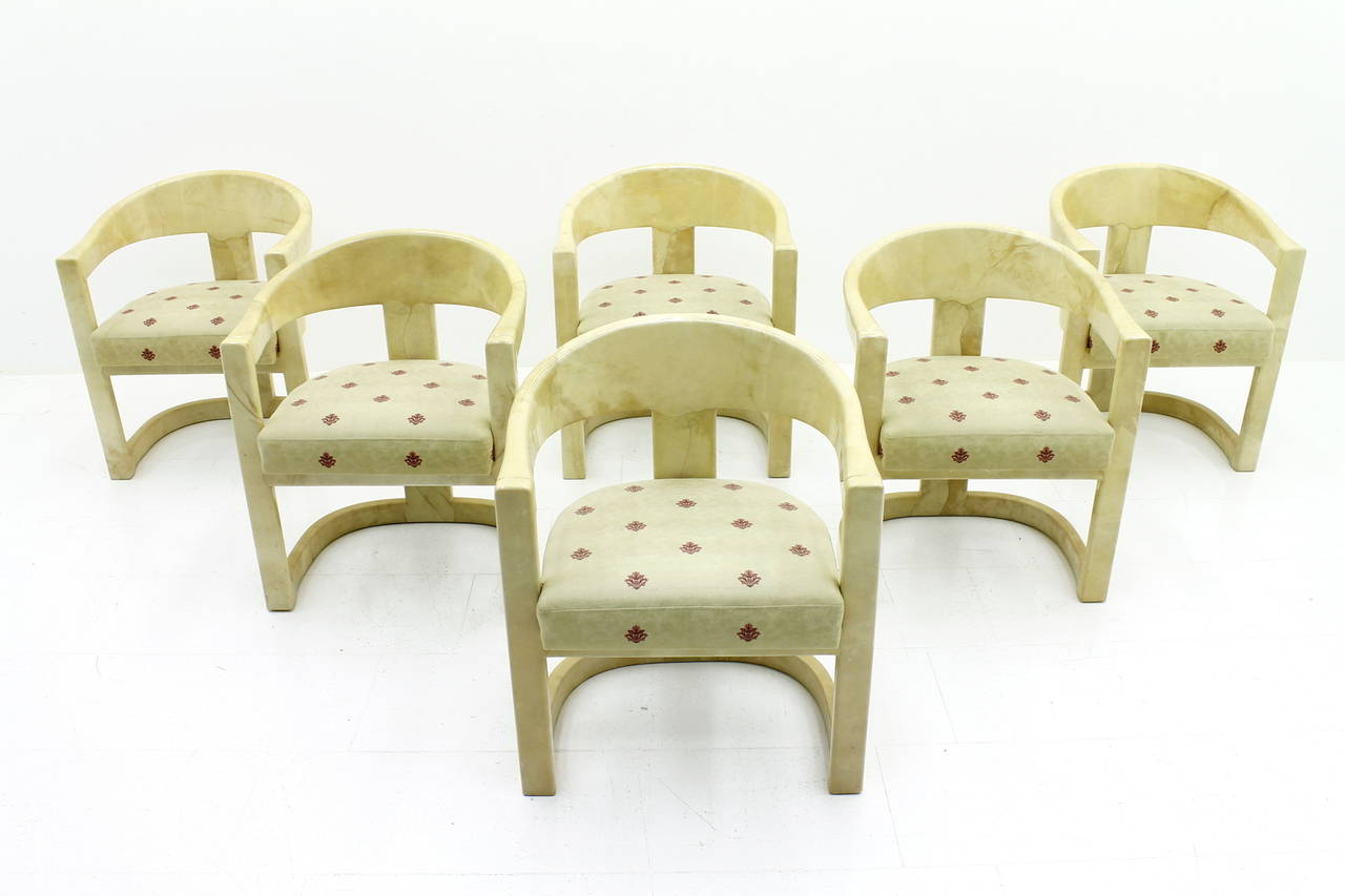 set of six Karl Springer Onassis goatskin armchairs from 1984. The chairs are new upholstery circa 10 ago.  Measurements: Height 75 cm, wide 61 cm, depth 52 cm, SH 47 cm.  Very good condition!