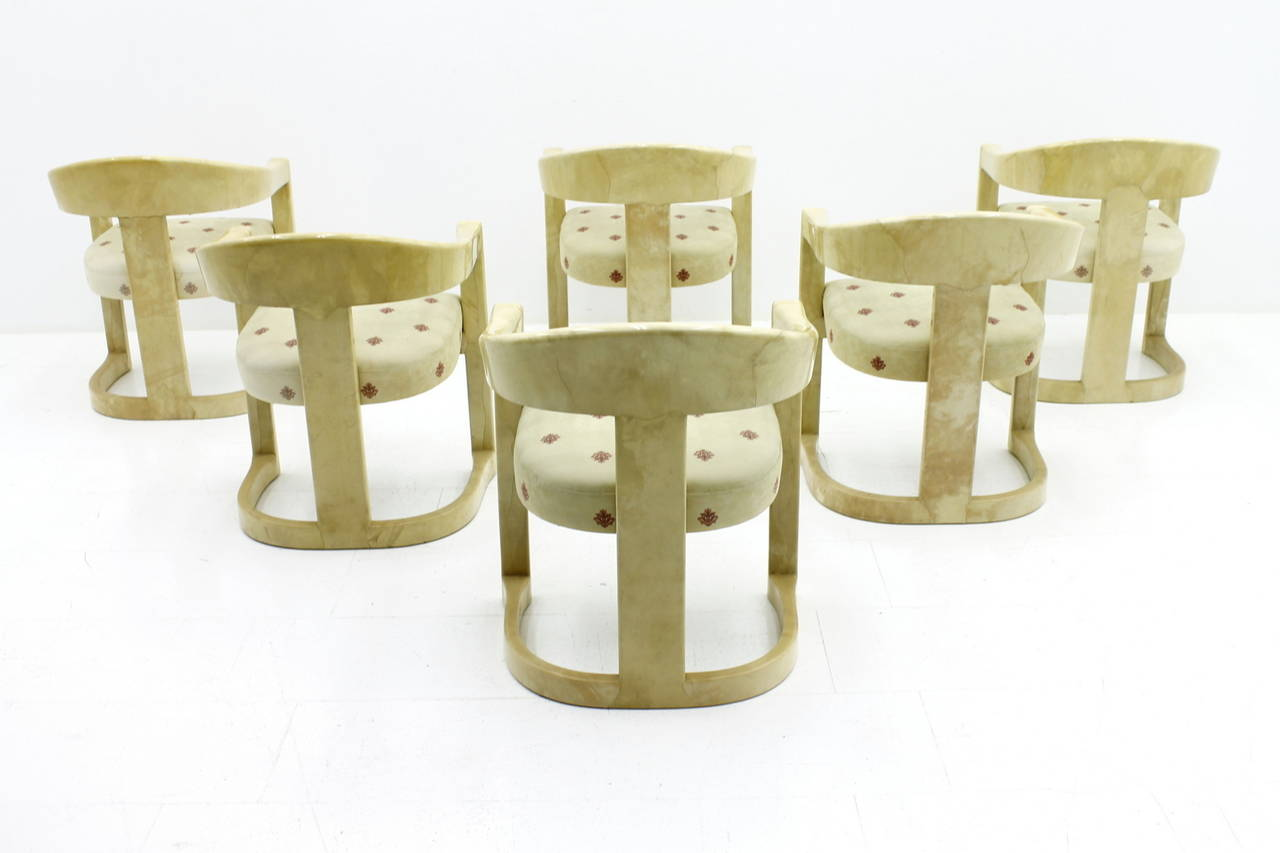 American Set of Six Karl Springer Onassis Chairs, Goatskin, 1980s For Sale