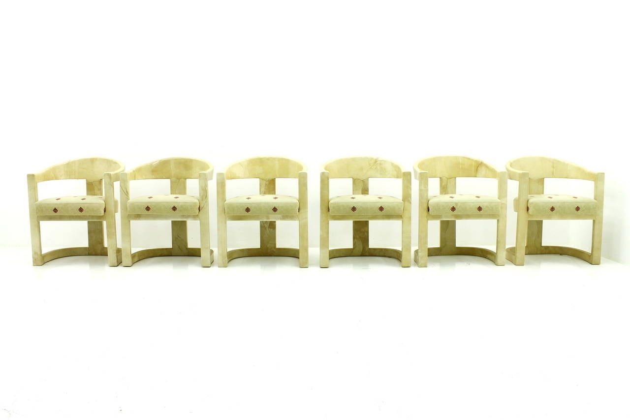Set of Six Karl Springer Onassis Chairs, Goatskin, 1980s In Good Condition For Sale In Frankfurt / Dreieich, DE