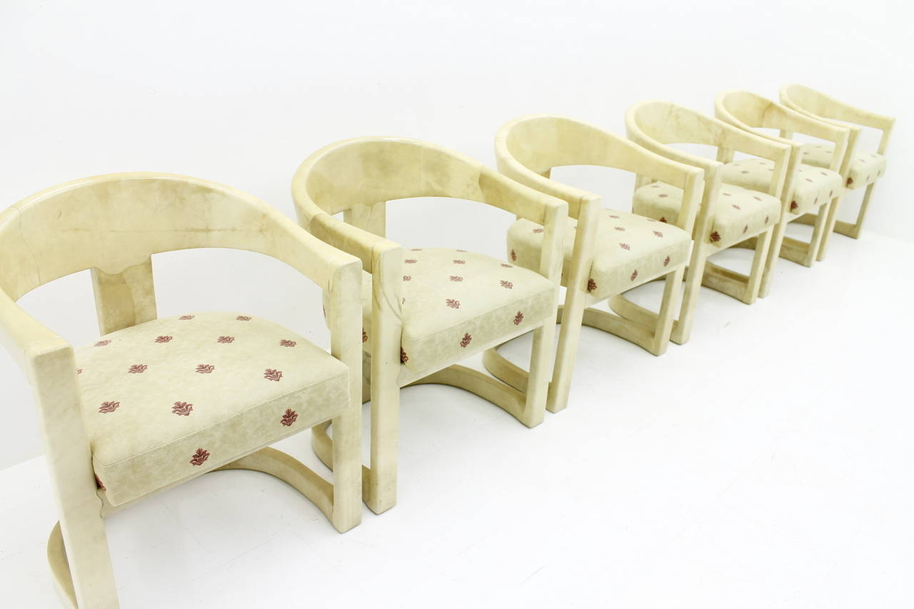 Late 20th Century Set of Six Karl Springer Onassis Chairs, Goatskin, 1980s For Sale