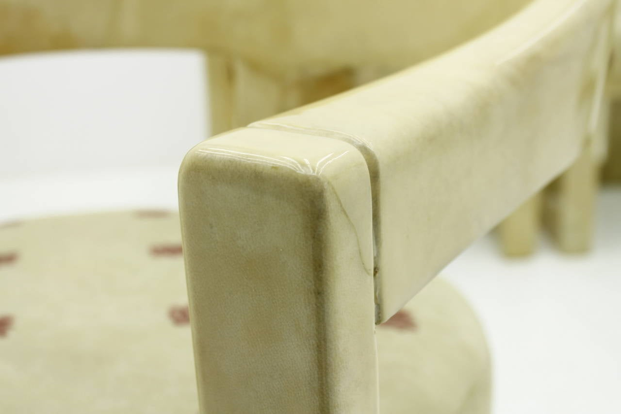 Set of Six Karl Springer Onassis Chairs, Goatskin, 1980s For Sale 2