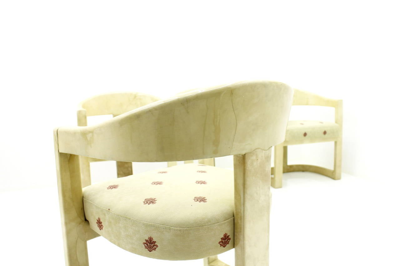 Set of Six Karl Springer Onassis Chairs, Goatskin, 1980s For Sale 3
