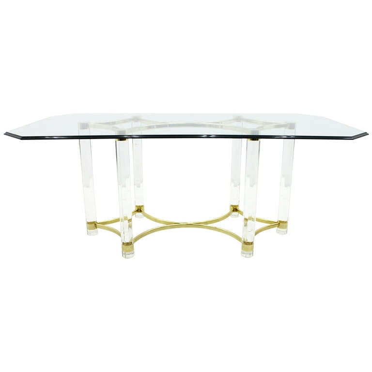 lucite glass and brass dining table romeo paris 1980s for sale at