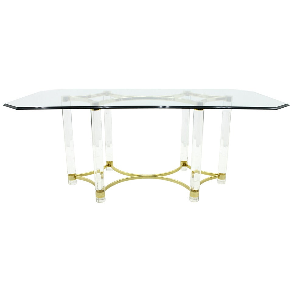 Lucite, Glass and Brass Dining Table, Romeo Paris 1970s
