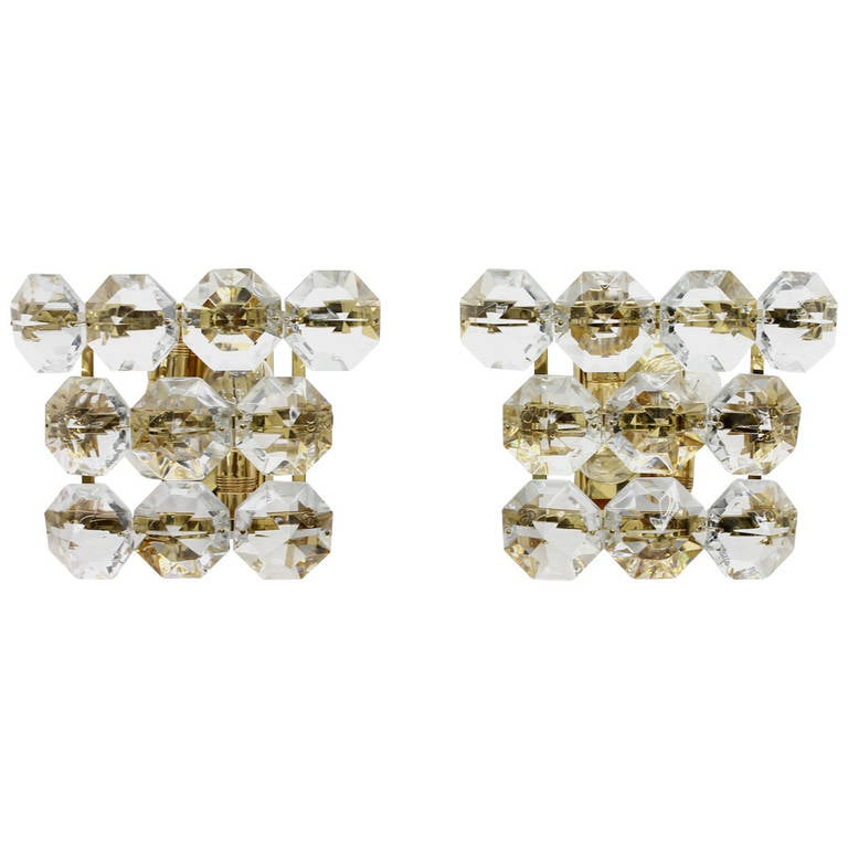 Pair of Glass and Gold Plated Wall Sconces at 1stdibs