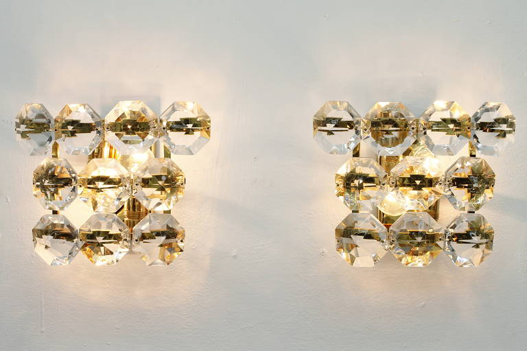 Pair of Glass and Gold Plated Wall Sconces, 1960`s For Sale at 1stdibs