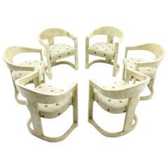 Set aus Sechs Karl Springer Onassis Stühlen, Ziegenleder, 1980er