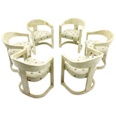 Set of Six Karl Springer Onassis Chairs, Goatskin, 1980`s