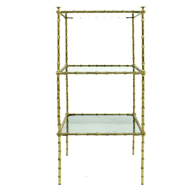 maison bagu s etagere table brass and glass at 1stdibs. Black Bedroom Furniture Sets. Home Design Ideas