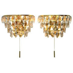 Pair of Palwa Wall Sconces, Gilded Brass and Crystal Glass, Germany 1960s