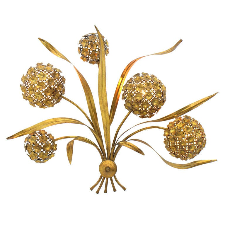 Large Flower Wall Sconces : Large Floral Wall Sconce, Brass, ca. 1950`s at 1stdibs