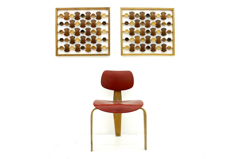 Pair Wood Wall Decoration, Teak & Makassar, 1960`s 5