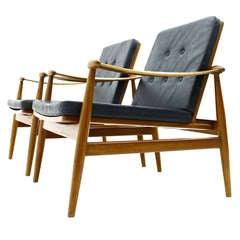 A Pair Finn Juhl Lounge Chairs, Spade FD 133, Leather & Teak