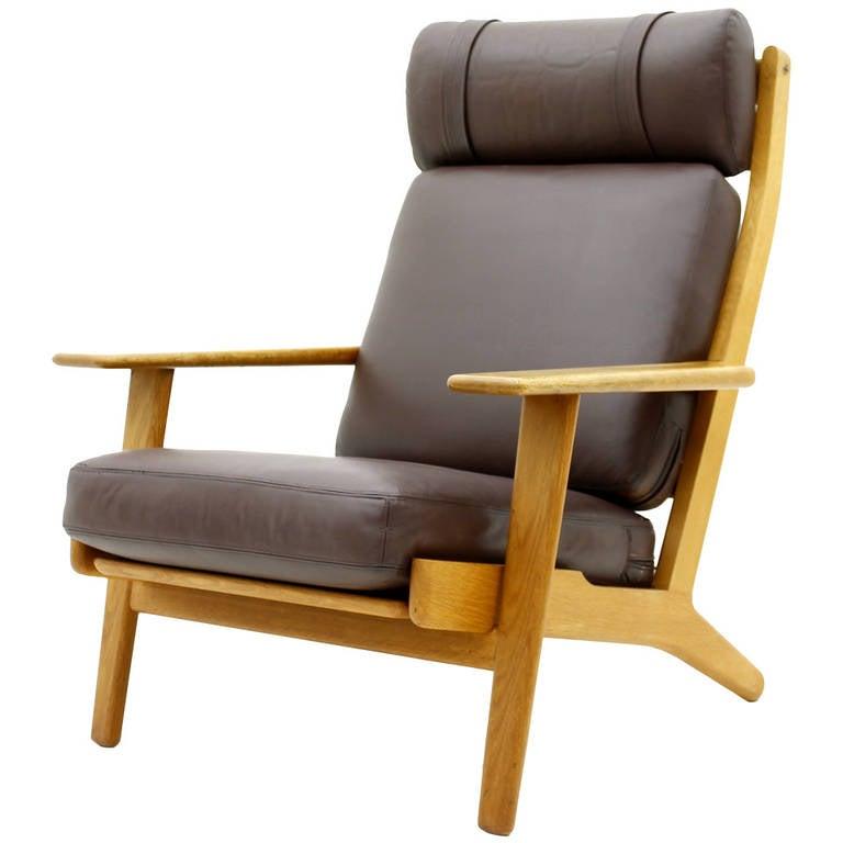 Hans J Wegner Lounge Chair Ge 290 GETAMA Denmark Oak And Leather For