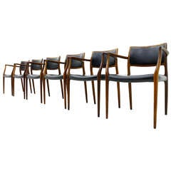 6x Niels O. Moller Rosewood & Leather Armchairs
