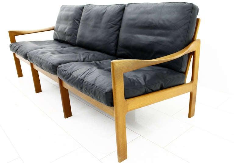 illum wikkelso 3er sofa teak and leather denmark at 1stdibs. Black Bedroom Furniture Sets. Home Design Ideas