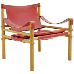 Arne Norell Safari Lounge Chair in Red Leather, Sweden, 1960s