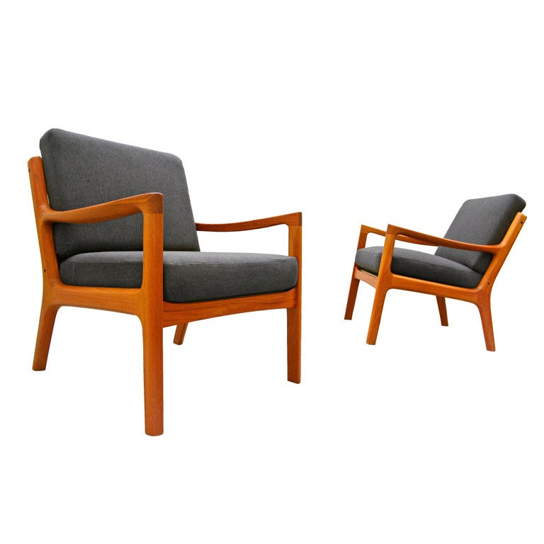 pair of easy chairs by ole wanscher senator france and. Black Bedroom Furniture Sets. Home Design Ideas