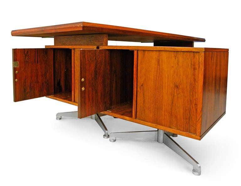 desk midcentury modern italian design rosewood 60s tecno. Black Bedroom Furniture Sets. Home Design Ideas