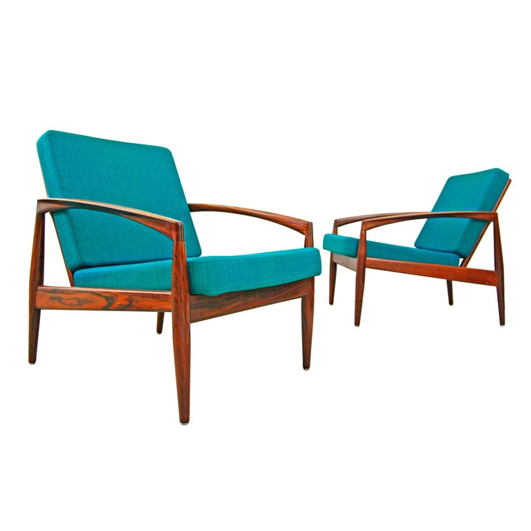Pair of easy chairs by kai kristiansen 1956 rosewood for Sessel danish design