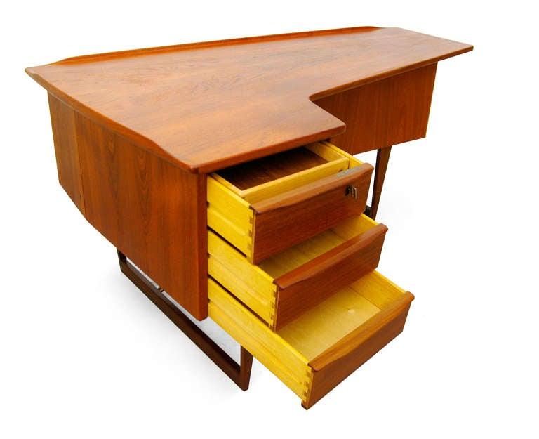desk by peter l vig nielsen 1956 teak danish modern at 1stdibs. Black Bedroom Furniture Sets. Home Design Ideas