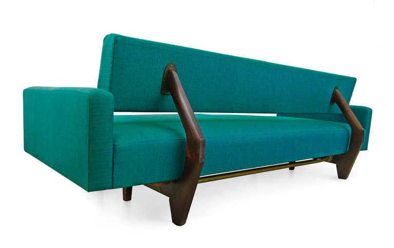 sofa daybed by honeta 1959 franz hohn germany teak 60s at 1stdibs. Black Bedroom Furniture Sets. Home Design Ideas