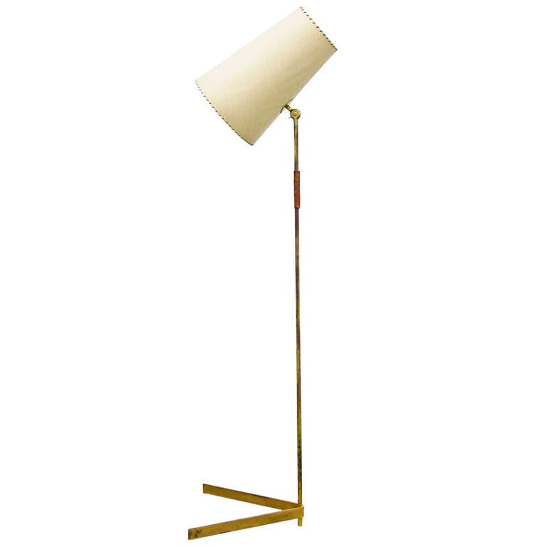 Mid Century Modern Brass Floor Lamp 1950s at 1stdibs
