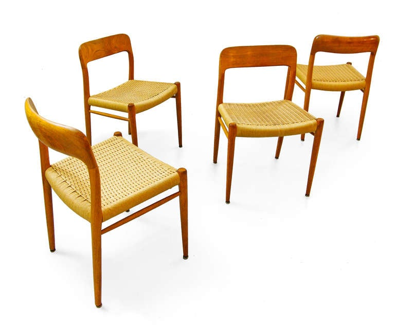 set of four dining chairs by niels otto moeller teak danish modern 1950 39 s 1960s at 1stdibs. Black Bedroom Furniture Sets. Home Design Ideas