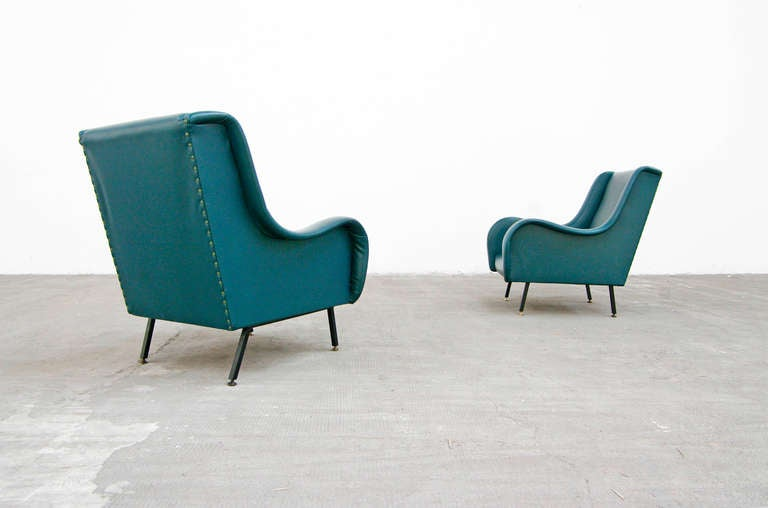 Pair of lounge chairs in style of zanuso italy 1950s for Designer chairs from the 60s