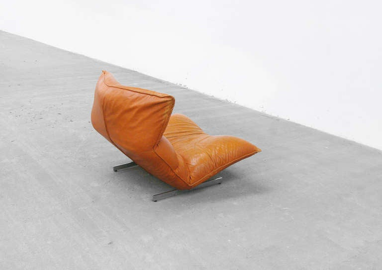 Lounge Chair by Vittorio Varo Italy Design Chatpard Cognac Leather, 1970s 9