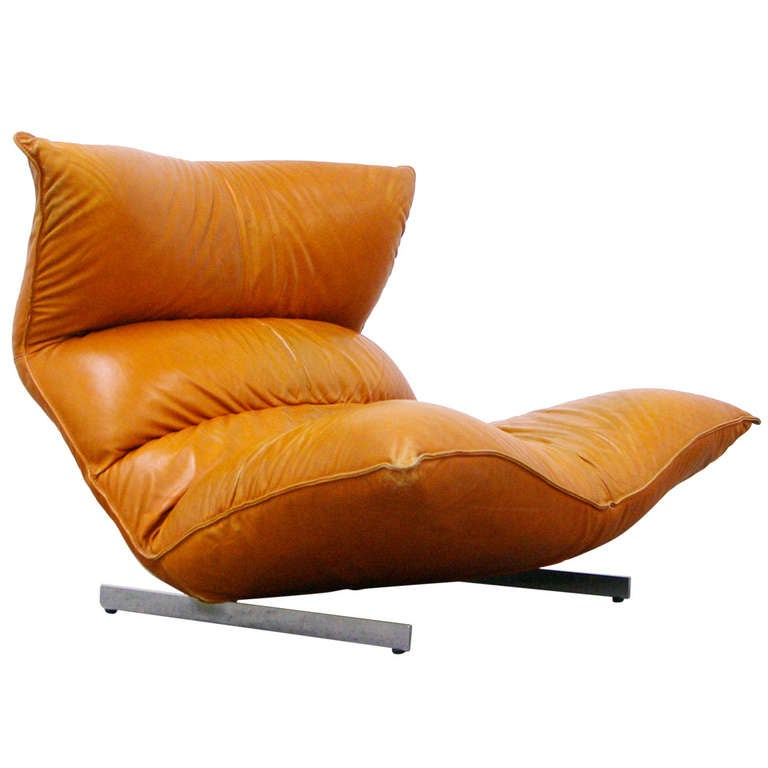 Lounge Chair by Vittorio Varo Italy Design Chatpard Cognac Leather, 1970s 1