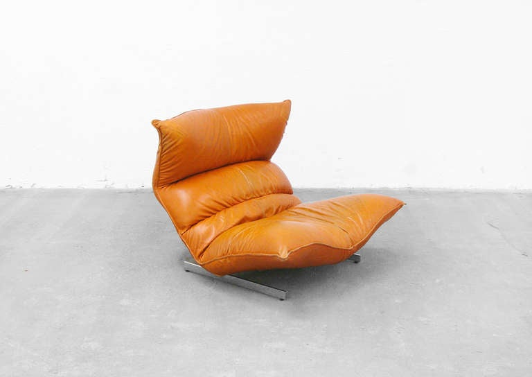 Lounge Chair by Vittorio Varo Italy Design Chatpard Cognac Leather, 1970s 10