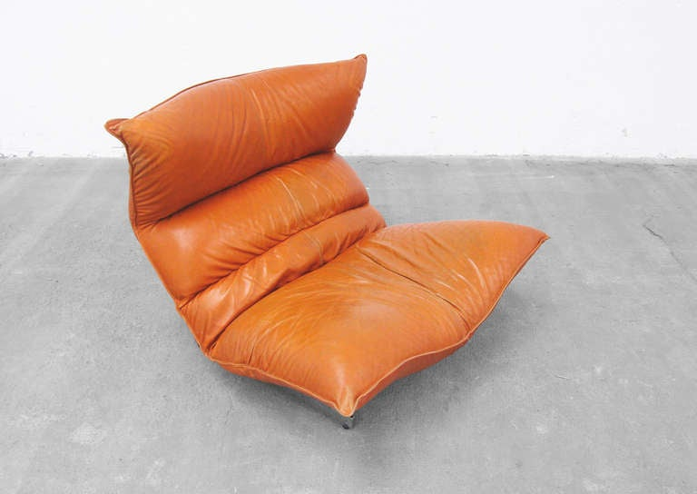 Lounge Chair by Vittorio Varo Italy Design Chatpard Cognac Leather, 1970s 4
