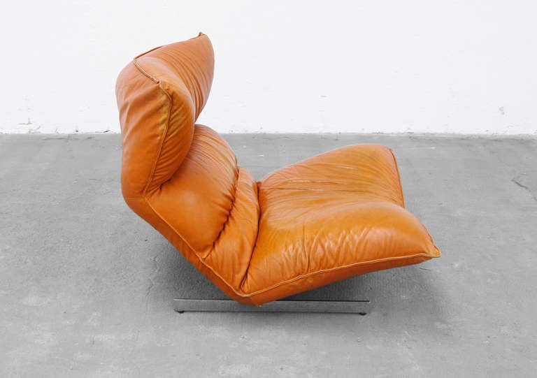 Lounge Chair by Vittorio Varo Italy Design Chatpard Cognac Leather, 1970s 8