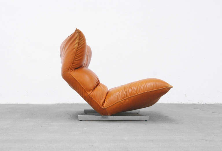 Lounge Chair by Vittorio Varo Italy Design Chatpard Cognac Leather, 1970s 2