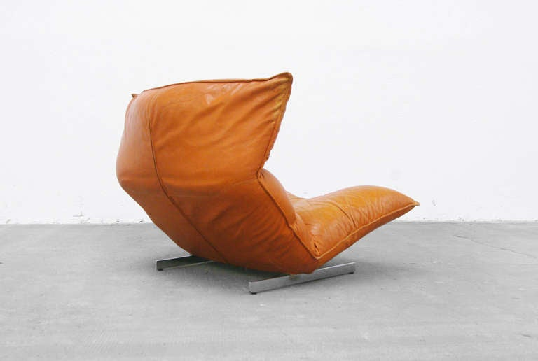 Lounge Chair by Vittorio Varo Italy Design Chatpard Cognac Leather, 1970s 3